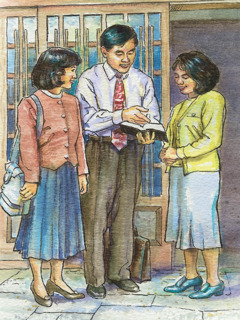 Jehovah's Witnesses preach to a woman