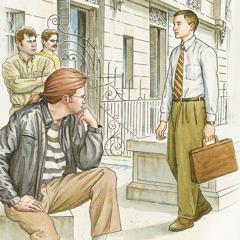 Nekaj ljudi opazuje enega izmed Jehovovih prič.