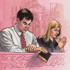 Een echtpaar dat bidt in een kerk