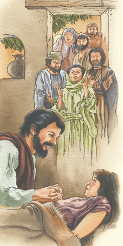 Jesus resurrects the daughter of Jairus