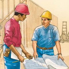 2人の男性が建設現場で一緒に働いている。