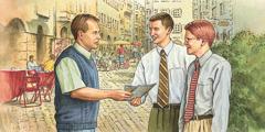 Երկու Եհովայի վկա քարոզում են մի տղամարդու