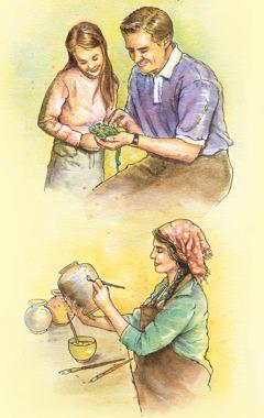 Un hombre y una niña observando un animal, y una mujer pintando