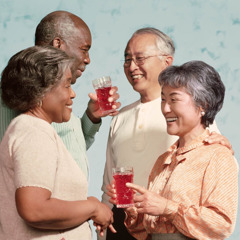 Two older couples spend time together
