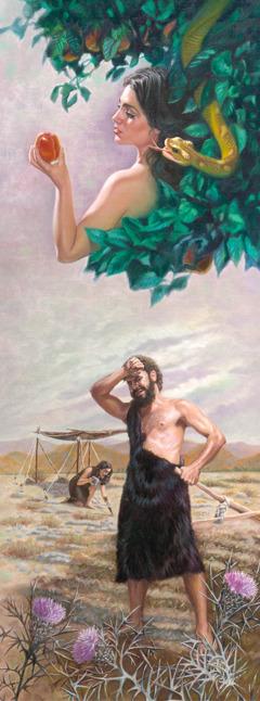 Een slang praat tegen Eva; Adam probeert de vervloekte grond te bewerken