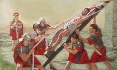 חיילים מרימים את ישוע על עמוד ההוקעה