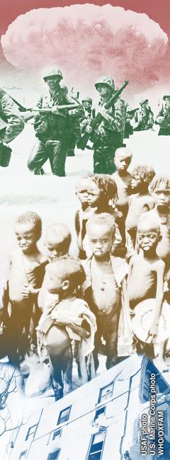 Kareiviai kare; badaujantys vaikai; nuniokotas pastatas