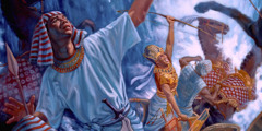 Jehovah God destroys haughty Pharaoh and the Egyptian army in the Red Sea