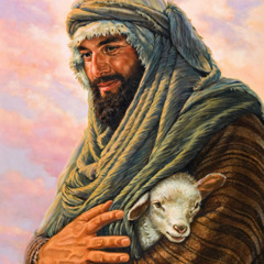A shepherd holding a little lamb tenderly in the security of his bosom