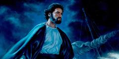 Jesus on the Sea of Galilee on a dark stormy night