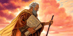 Moses holding two stone tablets containing the ten commandments