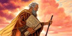 მოსეს ხელში უჭირავს ქვის ორი ფილა, რომელზეც ათი მცნებაა დაწერილი