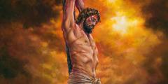 Jesus Christus word aan 'n regop paal tereggestel