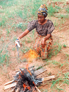 A woman burns her magical objects