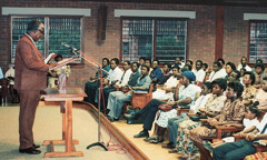 A congregation meeting at a Kingdom Hall