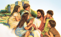 Jesus surrounded by children