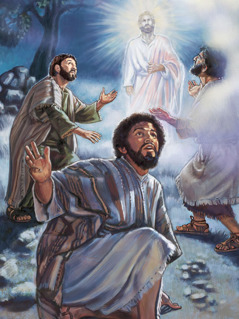 The transfiguration with Jesus, Peter, James, and John
