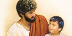 A young child stands beside Jesus