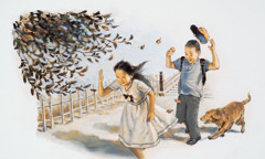 A boy and a girl have difficulty walking in the wind