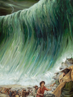The Israelites march through the Red Sea