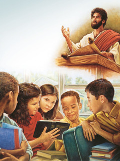 Jesus reads from a scroll; a girl shows children God's name in the Bible