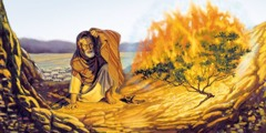 Moses at the burning thornbush