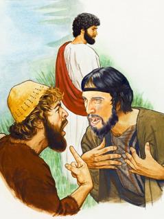 Jezus kijkt naar twee van zijn volgelingen die ruzie aan het maken zijn
