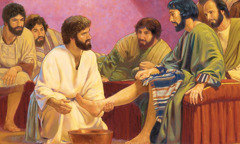Jesus washes his disciples' feet
