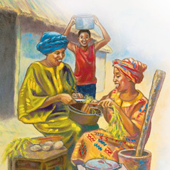 A child brings a pot to two women preparing food