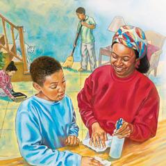 Anak-anak membantu ibu mereka membersihkan rumah