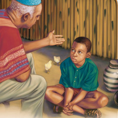 A boy listens to an older man