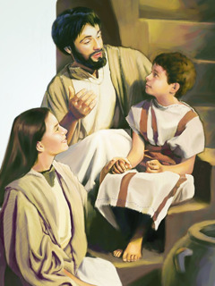 Mary and Joseph talk to their young son, Jesus