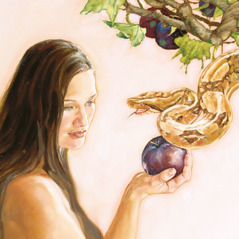 Eve holds the forbidden fruit and the serpent speaks to her