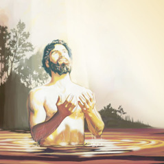 Immediately after his baptism, Jesus looks heavenward and prays