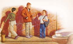 A boy offers two boys cigarettes; one boy takes it, the other walks away