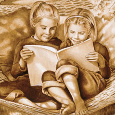 Two girls read a book together