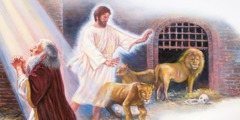 Eņģelis neļauj lauvām uzbrukt Daniēlam