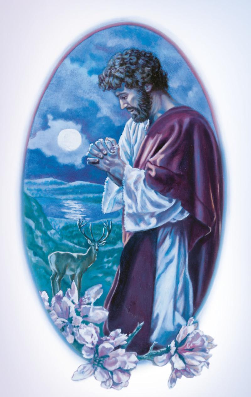 Jesús ora por la noche cuando está solo