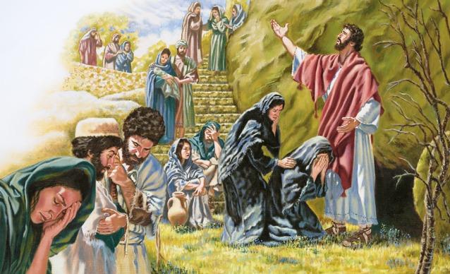 Jesús ora en voz alta junto a la tumba de Lázaro