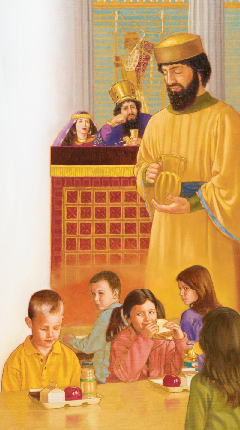 Nehemías ora en silencio; un niño ora en silencio antes de comer en la escuela