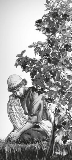 نثنائيل (المُسمّى ايضا برثلماوس) جالس تحت شجرة