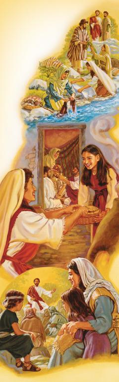 نساء من تلاميذ يسوع يسافرن معه، يغسلن ثيابه، ويحضِّرن له الطعام