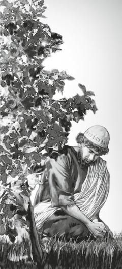 Natanael (også kaldet Bartolomæus) sidder under et træ