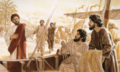 예수께서 야고보와 요한에게 자신의 제자가 되라고 말씀하시는 것을 베드로와 안드레가 바라보는 모습