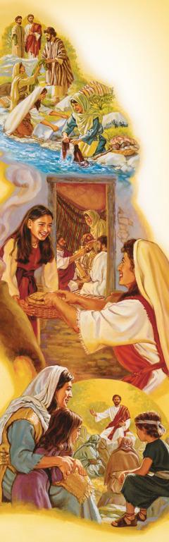 예수의 제자가 된 여자들이 그분과 함께 다니면서 그분의 옷을 빨고 식사를 준비하는 모습