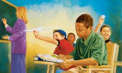 학교에서 수업 시간에 친구들이 장난칠 때 한 소년이 공부하는 모습