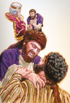 عبد يترجى الملك ان يعطيه وقتا اكثر ليرد المال، لكنه لاحقا يمسك رفيقه ويحاول ان يخنقه