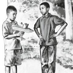 En gutt ber en annen gutt om unnskyldning for at han har ødelagt lekeflyet hans