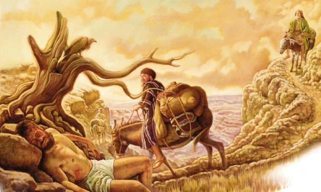 Un sacerdote y un levita pasan por delante de un hombre que está tirado en el camino medio muerto; un samaritano se acerca por el camino