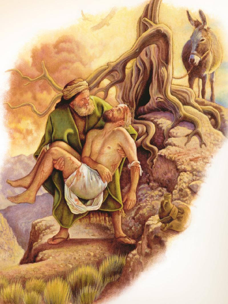 El samaritano se baja del burro y atiende al hombre que está tirado en el camino